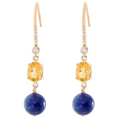 14 Yellow Gold Citrine and Blue Lapiz Diamond Dangle Earrings