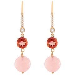14 Yellow Gold Rose Garnet and Rose Quartz Diamond Dangle Earrings