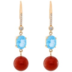 14 Karat Yellow Gold Blue Topaz and Red Jasper Diamond Dangle Earrings