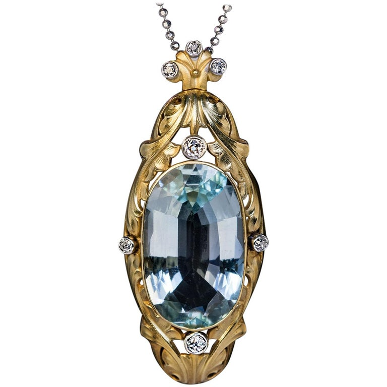 Art Nouveau Antique 20 Carat Aquamarine Diamond Gold Pendant