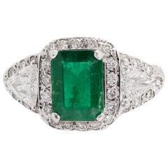 1.76 Carat Emerald and 1.40 Carat Diamond, 18 Karat White Gold Ring
