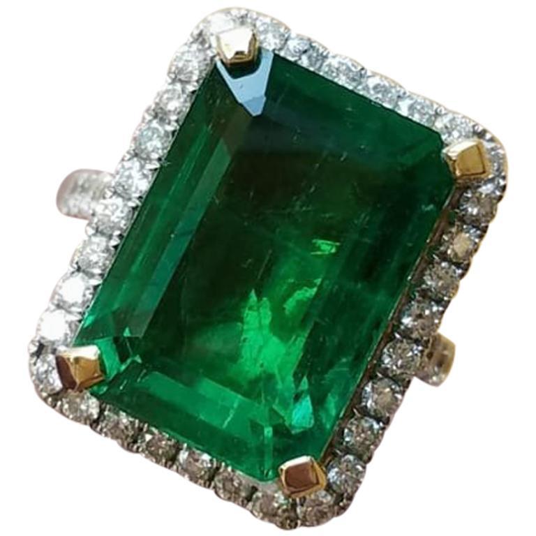 11.85 Carat Zambian Emerald and Diamond Cocktail Ring