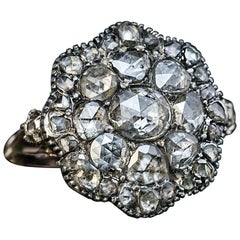 Antique Georgian Era Rose Cut Diamond Ring, circa 1780