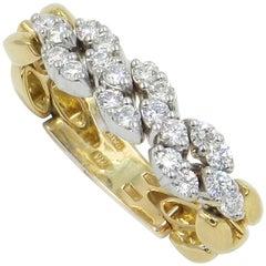 18 Karat Yellow and White Gold Diamond Flexible Garavelli Ring
