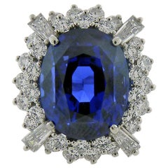 19.28 Carat Not Heated Ceylon Sapphire and Diamonds Platinum Ring
