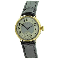 Waltham 14 Karat Yellow Gold Art Deco Campaign Style Watch One Hundred Years Old