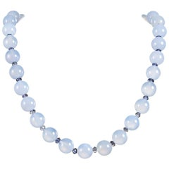 Chalcedony Bead Necklace with Iloite, Signed Seaman Schepps