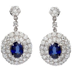 5 Carat Sapphire Oval Sapphire Diamond Dangle Earrings