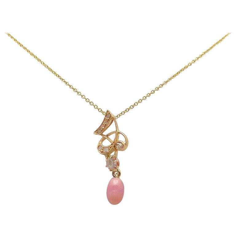 Natural Light Pink Conch Pearl and Diamond Art Nouveau Pendant For Sale
