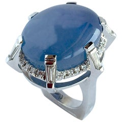 White Gold Ring with 72.46 Carat Star Sapphire surrounded with Accent Diamonds