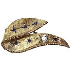 14 Karat Yg Sapphire and Diamond Brooch