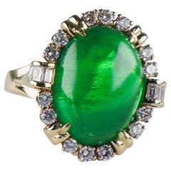 25.82 Carat Colombian Emerald Cabochon Diamond Yellow Gold Cocktail Ring