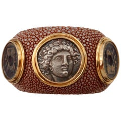 Michael Kneebone Venerable Three Coin Shagreen Cuff Bracelet