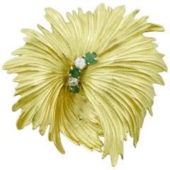 Tiffany & Co.  Emerald and Diamond Leaf Brooch in 18 Karat, circa 1960s