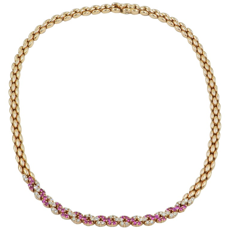 18 Karat Rose Gold White Diamonds and Pink Sapphires Garavelli Necklace