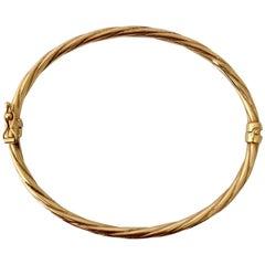 Gold Vintage Jewelry Bangle Bracelet Twisted Braided Design Lightweight