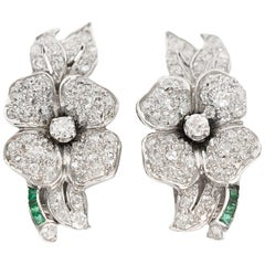 Diamond and Emerald Earrings