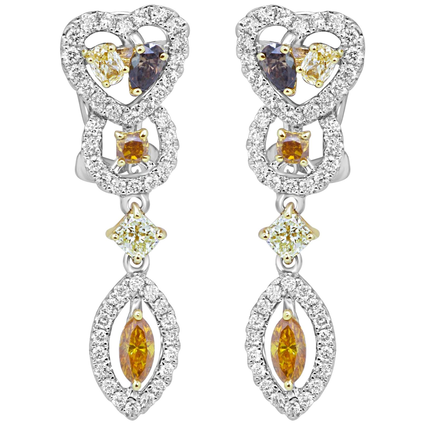Natural Fancy Multi-Color Diamond Halo Two-Color Gold Drop Dangle Earring