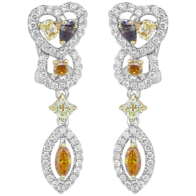 Natural Fancy Multi-Color Diamond Halo Two-Color Gold Earring