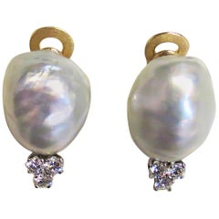 18 Karat Yellow Gold Baroque Freshwater Pearl and Diamond Clip Earrings