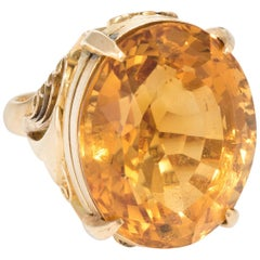 15 Carat Citrine Cocktail Ring Vintage 18 Karat Yellow Gold Estate Heirloom