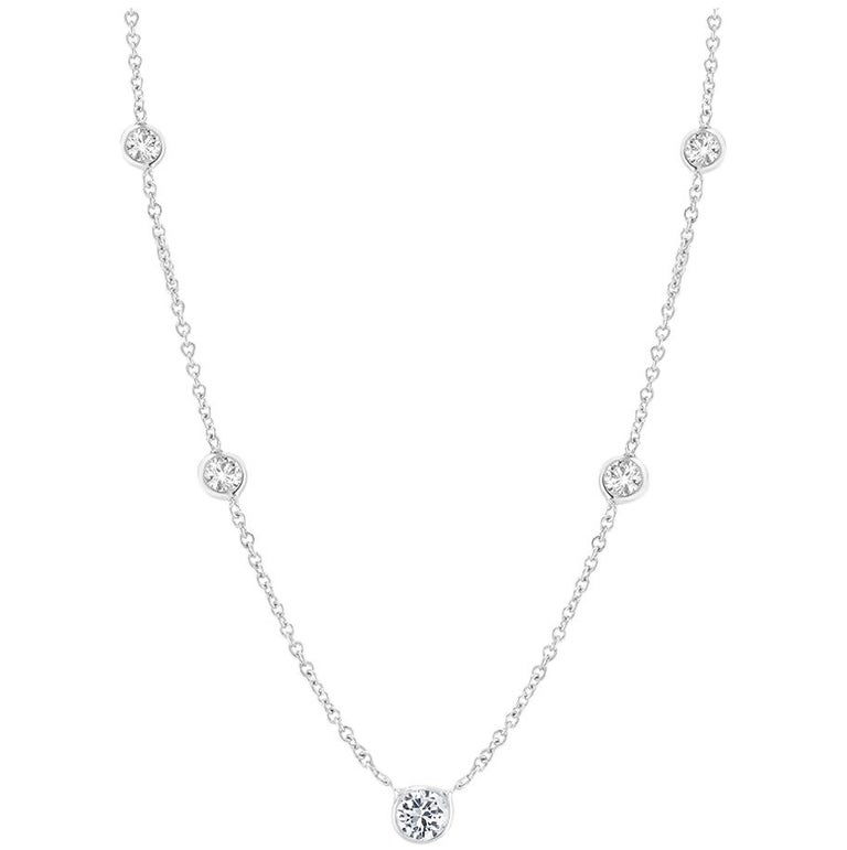White Gold Five Graduating Diamond Bezel-Set Pendant Necklace