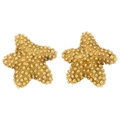 Tiffany & Co. Starfish Earrings Vintage 18 Karat Gold Textured Estate Jewelry