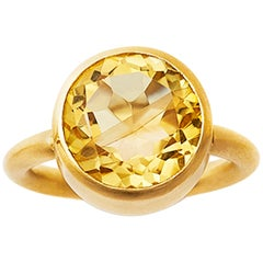 18 Karat Yellow Gold Citrine Lemon Quartz Blue Fluorite Garnet Two-Stone Ring