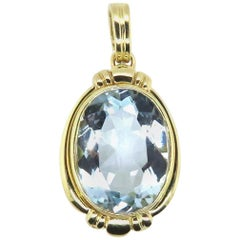1950s Retro 9.30 Carat Pear Shaped Aquamarine Pendant