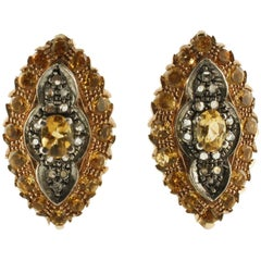 Yellow Topazes Diamonds Silver and Rose Gold Clip-On Earrings