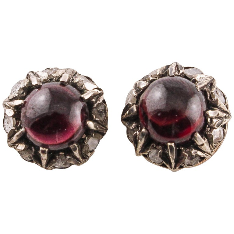 Diamonds Garnets Rose Gold and Silver Stud Earrings
