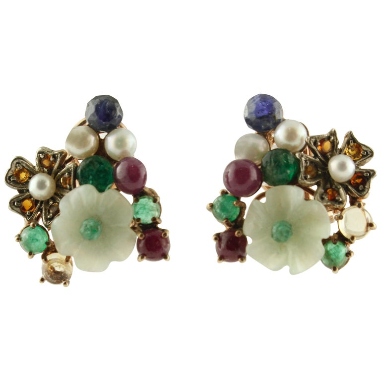 Rubies, Sapphires Emeralds Mother-of-Pearl Pearls Rose Gold and Silver Earrings For Sale