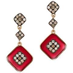 Molu Red Enameled Brown Diamond Rose Gold Dangle Earrings