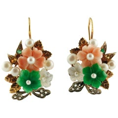 Emeralds Yellow Sapphires Green Agate Mother-of-Pearl Pearl Coral Earrings