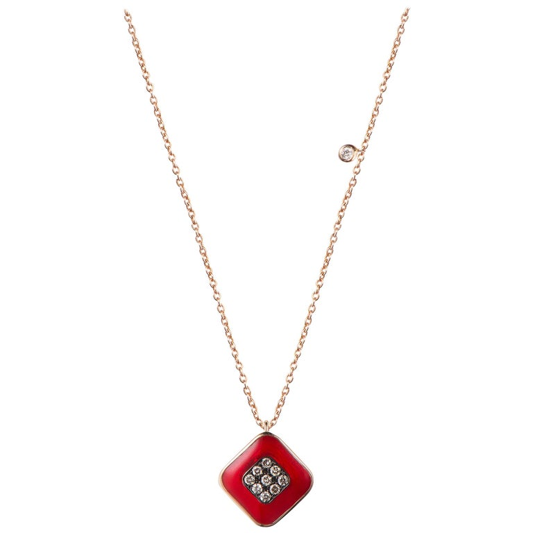Red-enameled brown-diamond and rose-gold Square necklace