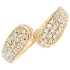 Limited edition Italian 18K Gold, Rose Quartz and Pave set Diamond Dress Ring