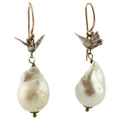Diamonds Rubies Pearls Rose Gold and Silver Dangle Earrings