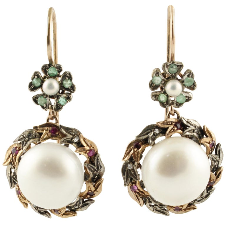 Diamonds Rubies Emeralds Pearls Rose Gold and Silver Dangle Earrings