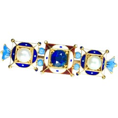 Brooch, Polychrome Enamel, Sapphire and Pearls, 18 Karat Yellow Gold, 1850s