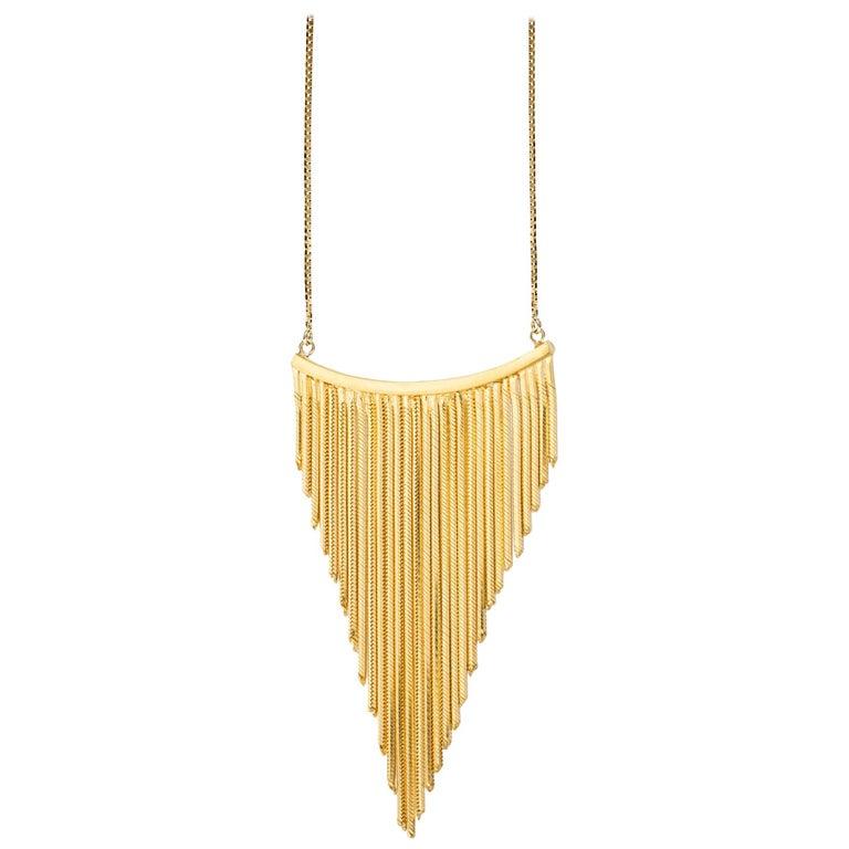 Iosselliani 18 Karat Gold Swinging Fringe Black Diamonds Pavé Necklace