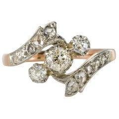 French 19th Century 0,45 Carats Diamonds 18 Karat Rose Gold Ring