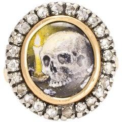 "BL Bespoke ""Skull & Candle"" Diamond Memento Mori Ring"