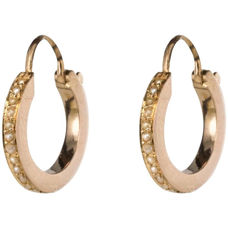 19th Century Natural Pearl Rose Gold Hoop Earrings