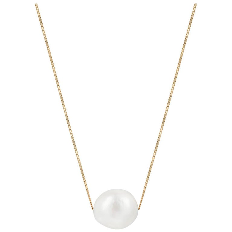 Minka Gems, Floating Pearl Necklace, Gold chain with baroque pearl