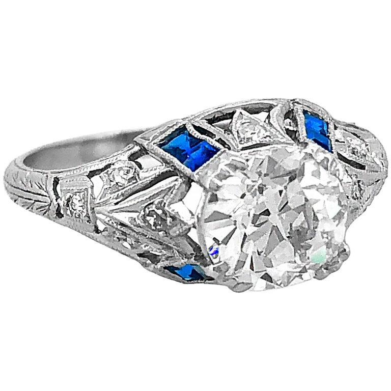 Antique 1.75 Carat Diamond and Sapphire Art Deco Engagement Ring Platinum
