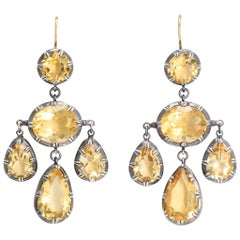 BL Bespoke Yellow Citrine Pendeloque Earrings
