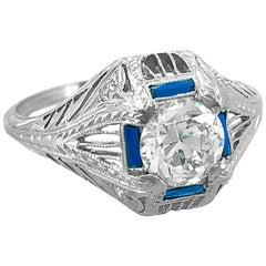 Art Deco 1.06 Carat Diamond and Sapphire Antique Engagement Ring Platinum