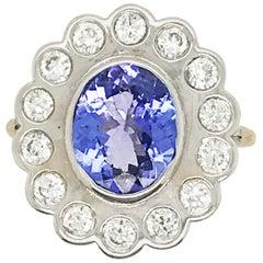 2.74 Carat Tanzanite and Diamond Ring Set in 14 Karat Gold