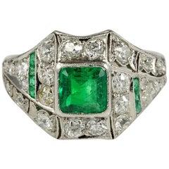 Art Deco Colombian Emerald Diamond Platinum Rare Ring