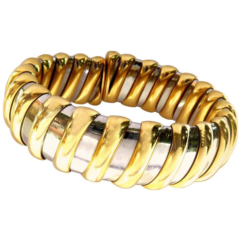 Bvlgari Bulgari Tubogas 2 Tone 18 Karat Gold Steel Large Size Flexible Bracelet